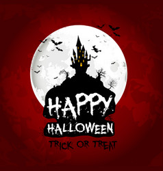 Halloween poster on full moon with scary house vector
