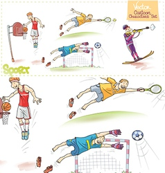 Cartoon sports characters set vector