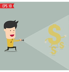 Businessman use flashlight find money vector
