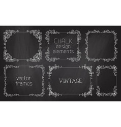 Set of chalk calligraphic frames vector