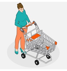 Isometric grocery shopping - walking vintage girl vector