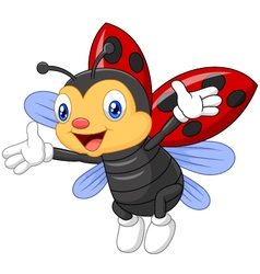 ladybug waving hand with wing vector image