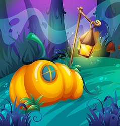 Pumpkin house in the jungle vector