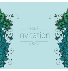 Invitation card with doodle flowers vector