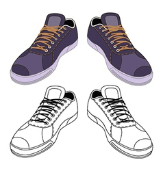 Black outlined colored sneakers shoes vector