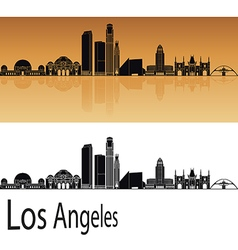 Los angeles skyline in orange vector