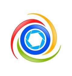Aerial drone photography symbol logo design vector