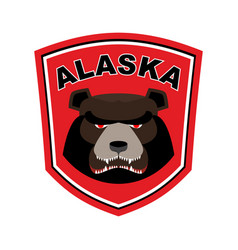 Alaska grizzly mascot bear emblem sign wild vector