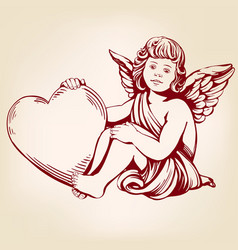 Angel or cupid little baby holds a heart vector