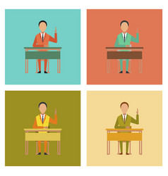 Assembly flat icons pupil at school desk vector