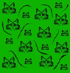 Black contours of the heads of cats vector image vector image