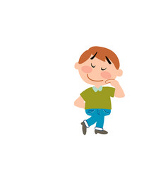 cartoon character boy shy vector image