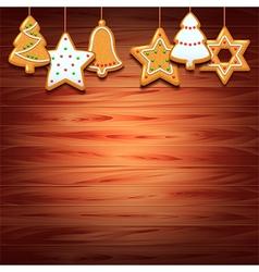 Christmas cookies on wood background vector image