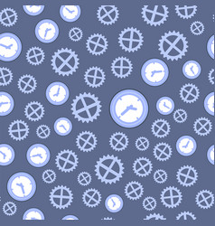 Clock and gear seamless pattern vector