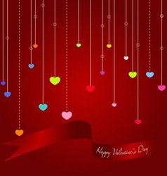 Colorful hearts with Valentine ribbon on red backg vector image vector image