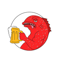 Coral trout beer mug circle drawing vector