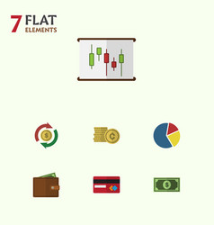 Flat icon gain set of billfold cash greenback vector