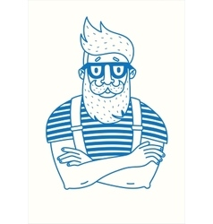 Hipster with a beard vector image
