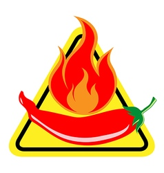 Hot and spicy chili pepper warning sign vector