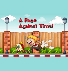 Idiom poster for race agaist time vector