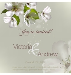Invitation with flowers apple vector