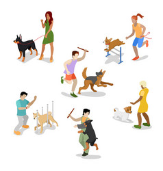 Isometric people training dog vector