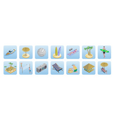 Isometric summer beach vacation icons set vector