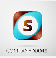letter s logo symbol in the colorful square on vector image