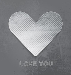 Paper heart on gray grunge background vector image