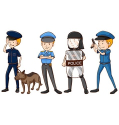 Police in different uniforms vector