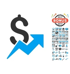 Sales Growth Icon With 2017 Year Bonus Pictograms vector image
