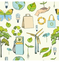 Seamless ecology and environment pattern vector image vector image