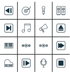 Set of 16 music icons includes microphone octave vector