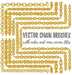 set of 6 hand drawn golden Chain brushes vector image