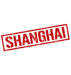 Shanghai red square stamp vector