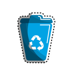 Sticker blue can trash with recycling symbol vector