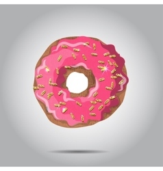 Sweet donut with pink glaze and many vector image