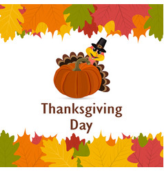 Thanksgiving day banner with autumn leaves vector