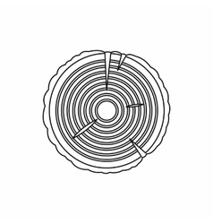 Tree rings icon outline style vector