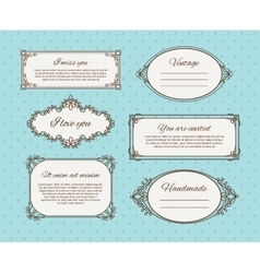 Vintage frames with text vector image vector image