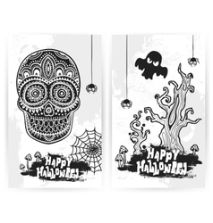 vintage Halloween set of banners vector image