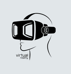 Virtual reality logo flat design icon black vector