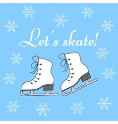 Winter holiday background with figure skates vector