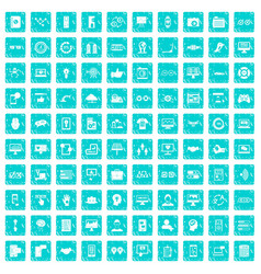 100 interface icons set grunge blue vector