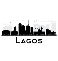 Lagos city skyline black and white silhouette vector