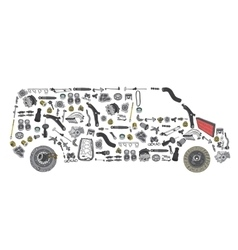 Images bus from new spare parts vector image