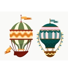 Flying striped air ballons with flags vector