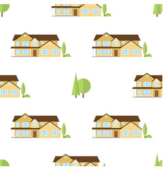 Suburban american houses seamless pattern vector