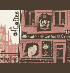 Urban landscape with exterior of cafe with sign vector