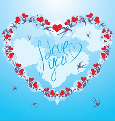 Swallows and hearts on sky background with clouds vector